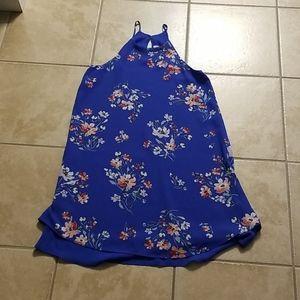 Pink Rose blue floral dress XS NWOT